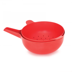 Cuenco Multiusos + Colador Grande - Pronto Rojo - Ekobo