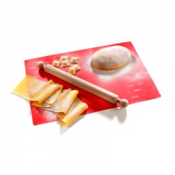 Pastry Mat And Rolling Pin - Fogliochef Red And Wood - Imperia IMPERIA IMP590