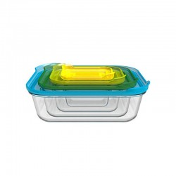 Set of 4 Glass Storage Containers - Nest Glass Transparent - Joseph Joseph