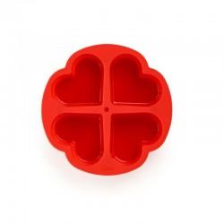 Molde 4 Porciones Corazón Rojo - Lekue