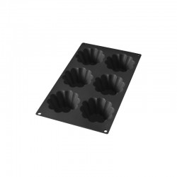 6 Briochettes Silicone Mould Black - Lekue