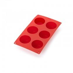 Molde de Silicona de 6 Muffins Rojo - Lekue