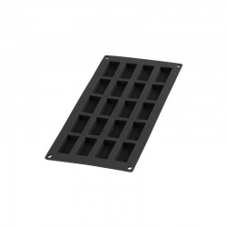 20 Mini Financier Silicone Mould Black - Lekue