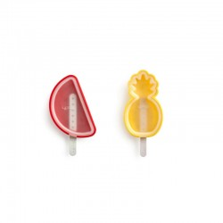 Tropical Fruits Ice Cream Molds (4Un) Red And Yellow - Lekue LEKUE LK3400260SURU150