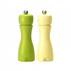 Salt And Pepper Mill Set 15cm - Tahiti Printemps Green And Yellow - Peugeot Saveurs