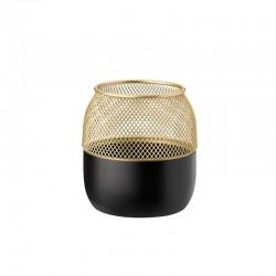 Porta-Velas Pequena - Collar Preto E Dourado - Stelton