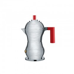 Espresso Coffee Maker 70ml - Pulcina Grey And Red - Alessi