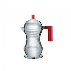 Espresso Coffee Maker 70ml - Pulcina Grey And Red - Alessi ALESSI ALESMDL02/1R