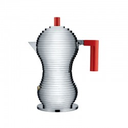 Espresso Coffee Maker 150ml - Pulcina Grey And Red - Alessi