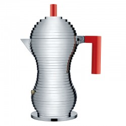 Espresso Coffee Maker 300ml - Pulcina Grey And Red - Alessi