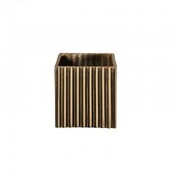 Vaso com Ranhuras 10Cm - Quadro Dourado - Asa Selection