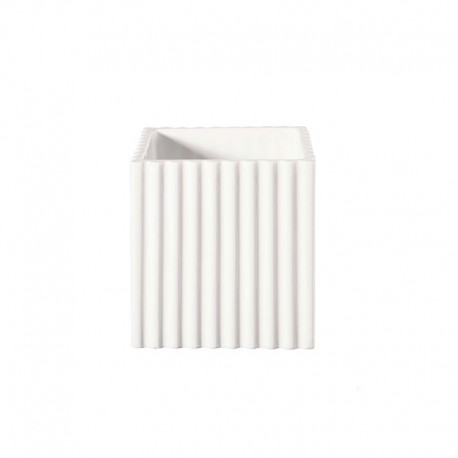 Planter with Grooves 12Cm - Quadro White - Asa Selection ASA SELECTION ASA46103005