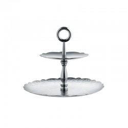 Two-Dish Stand - Dressed Steel - Alessi ALESSI ALESMW52/2