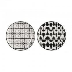 Conjunto de Dos Platos Borroso y Cuadrícula - Maori Blanco Y Negro - Asa Selection
