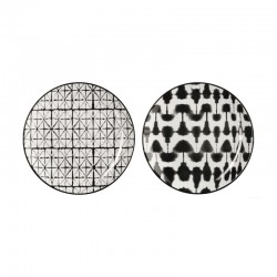 Set of 2 Plates Blurred & Grid - Maori Black And White - Asa Selection