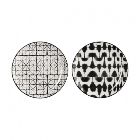 Set of 2 Plates Blurred & Grid - Maori Black And White - Asa Selection ASA SELECTION ASA90907071