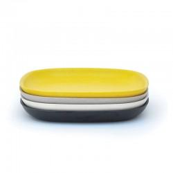 Medium Plates Set - Gusto White, Stone, Lemon And Black - Biobu