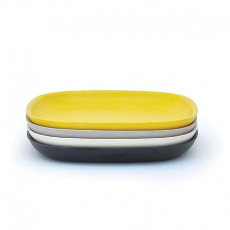 Medium Plates Set - Gusto White, Stone, Lemon And Black - Biobu BIOBU EKB34765