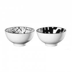 Set of 2 Bowls Blurred & Grid - Maori Black And White - Asa Selection