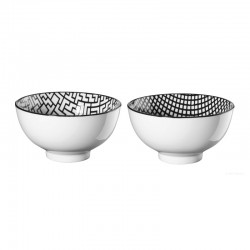 Set of 2 Bowls Checked an Tetris - Maori Black And White - Asa Selection