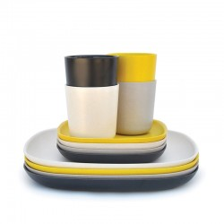 Conjunto Almoço & Jantar - Gusto Branco, Cinza Pedra, Limão E Preto - Biobu