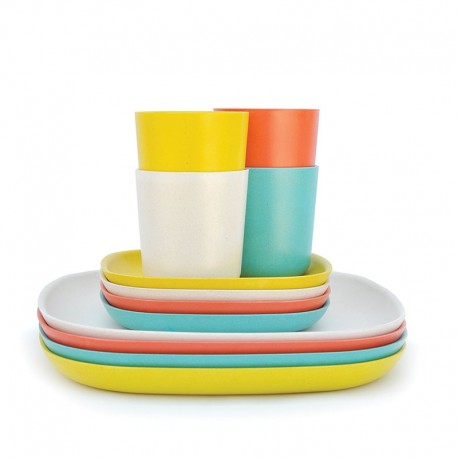 Conjunto Almoço & Jantar - Gusto Laranja, Branco, Turquesa E Limão - Biobu BIOBU EKB34321