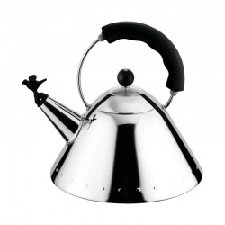 Kettle Small Bird-Shaped Whistle Silver And Black - Alessi