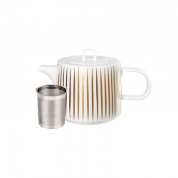 Teapot 1,25Lt - Muga Stripes Trésor White And Gold - Asa Selection