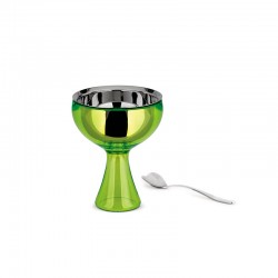 Ice Cream Bowl And Spoon Green - Big Love Green Bud - A Di Alessi