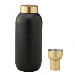 Cocktail Shaker And Measuring Cup - Collar Matt Black And Brass - Stelton STELTON STT424