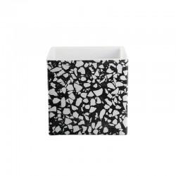 Macetero 18cm - Quadro Terrazzo Blanco Y Negro - Asa Selection